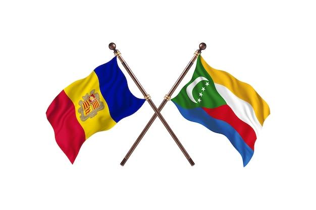 Andorra contro le comore due bandiere di paesi background