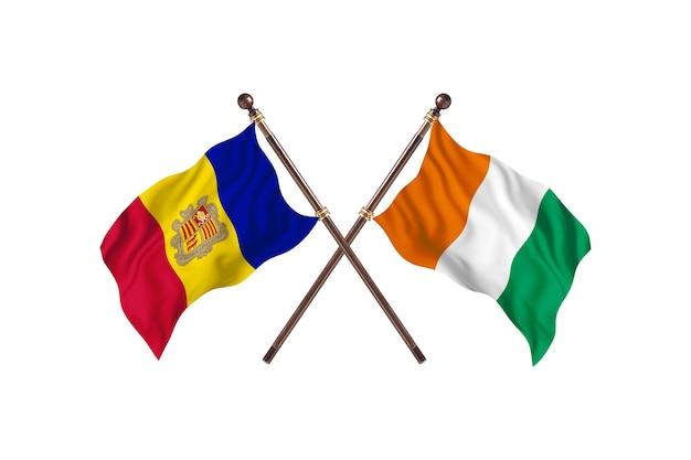 Andorra contro costa d'avorio due bandiere di paesi background