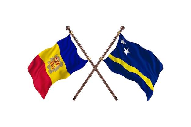 Andorra contro curacao due bandiere di paesi background