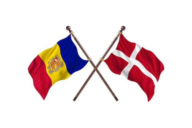 Andorra contro danimarca due bandiere di paesi background