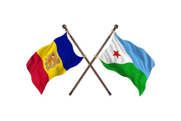Andorra contro gibuti due paesi bandiere sfondo