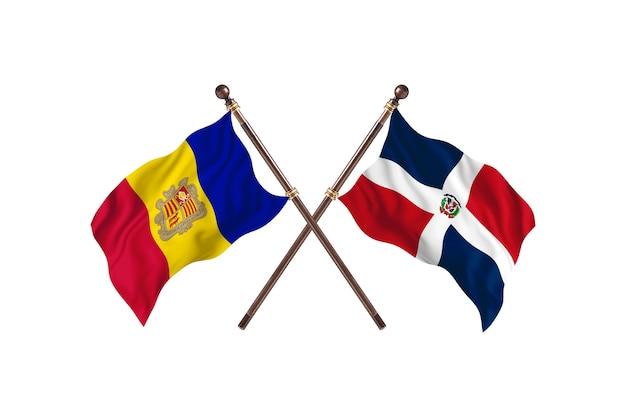 Andorra contro repubblica dominicana due bandiere di paesi background