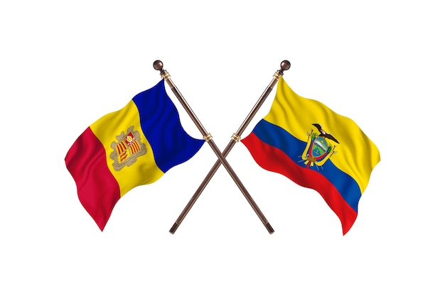 Andorra contro l'ecuador due bandiere di paesi background