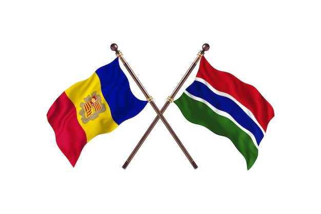 Andorra contro il gambia due paesi bandiere sfondo