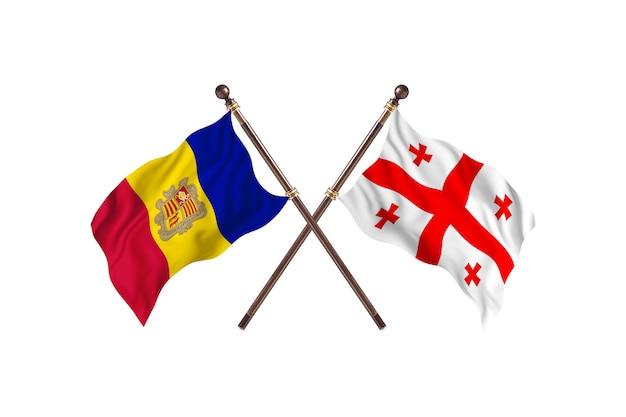Andorra contro georgia due paesi bandiere sfondo
