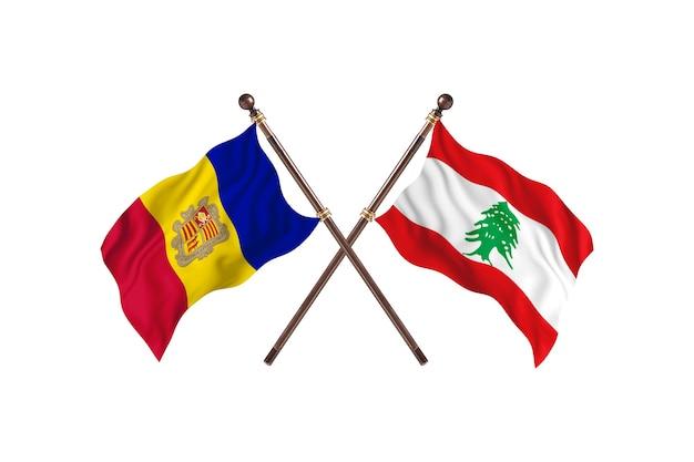 Andorra contro il libano due bandiere di paesi background