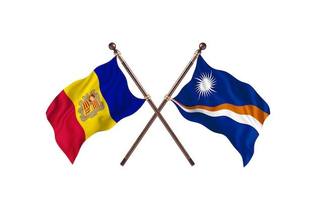 Andorra contro isole marshall due bandiere di paesi background