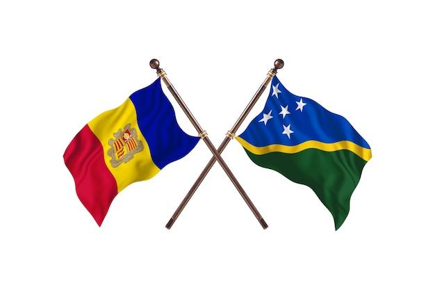 Andorra contro isole salomone due bandiere di paesi background