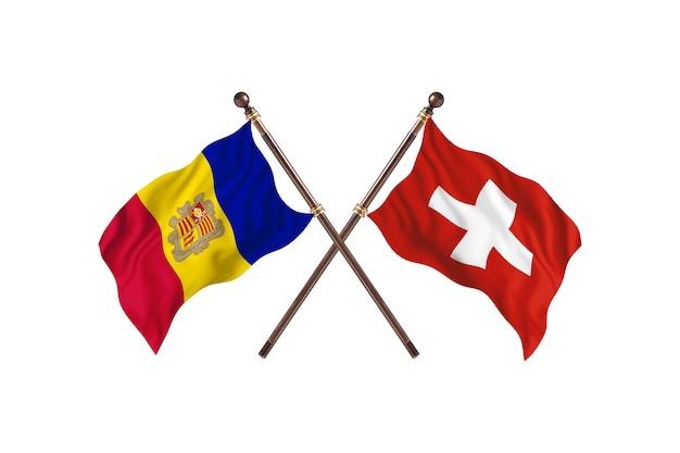 Andorra contro la svizzera due bandiere di paesi background