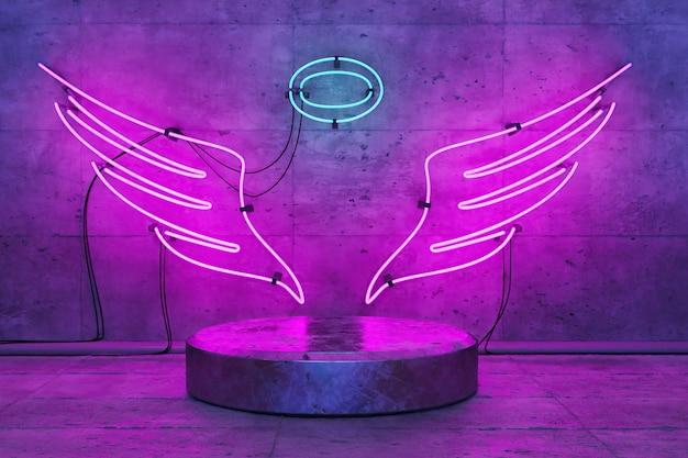 Lampada neon a forma di angelo con base per esposizione prodotto