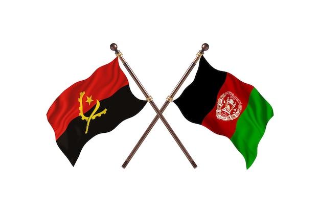 Sfondo di bandiere di due paesi dell'angola contro afghanistan