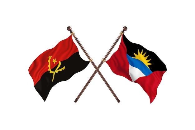 Angola contro antigua barbuda due bandiere di paesi