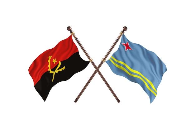Angola contro aruba due bandiere di paesi background
