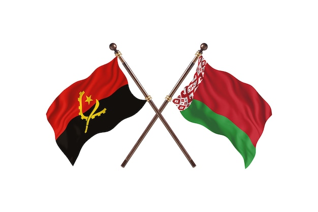 Angola contro la bielorussia due bandiere di paesi background