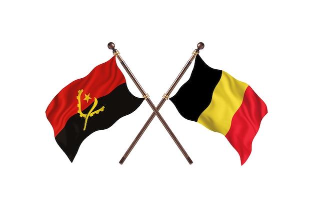 Angola contro belgio due bandiere di paesi background