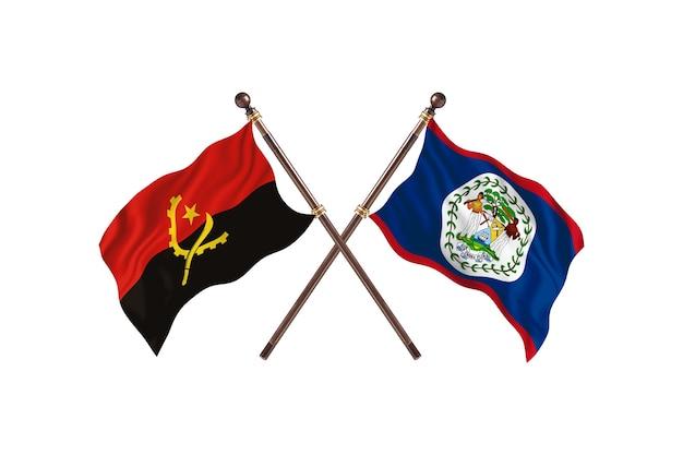 Angola contro belize due bandiere di paesi background