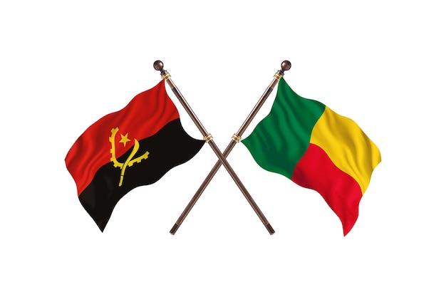 Sfondo di bandiere di due paesi dell'angola contro il benin