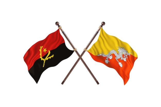 Sfondo di bandiere di due paesi dell'angola contro il bhutan