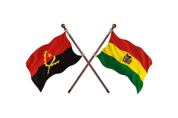 Sfondo di bandiere di due paesi dell'angola contro bolivia