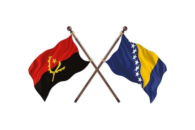Angola contro bosnia ed erzegovina due bandiere di paesi background
