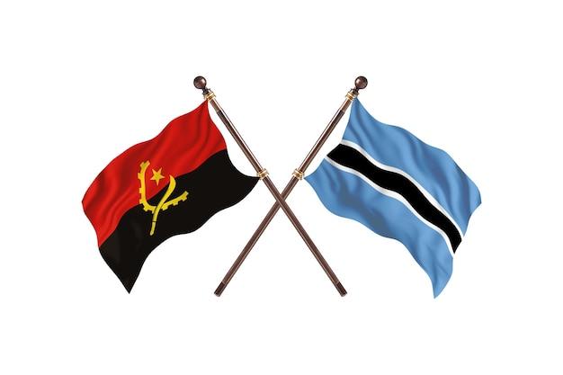 Angola contro botswana due bandiere di paesi background