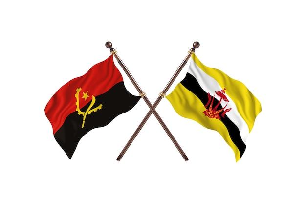 Sfondo di bandiere di due paesi dell'angola contro brunei