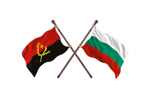 Angola contro bulgaria due bandiere di paesi background