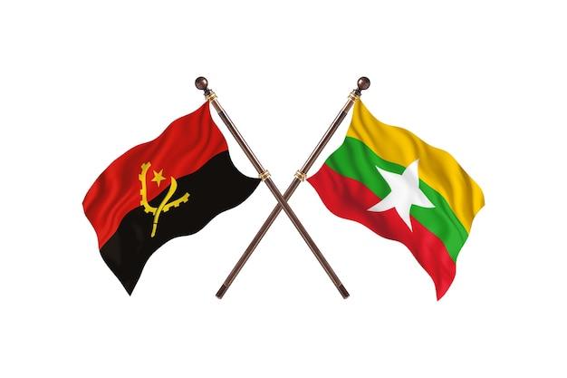 Sfondo di bandiere di due paesi dell'angola contro la birmania