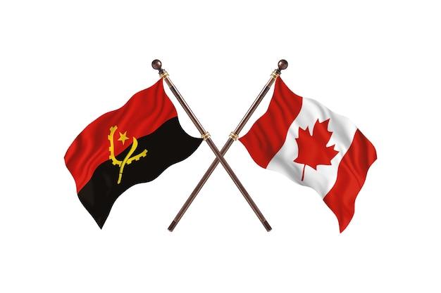 Sfondo di bandiere di due paesi dell'angola contro canada