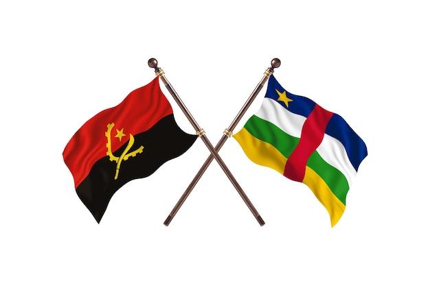 Angola contro repubblica centrafricana due bandiere di paesi background