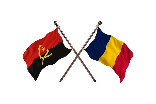 Sfondo di bandiere di due paesi dell'angola contro il ciad