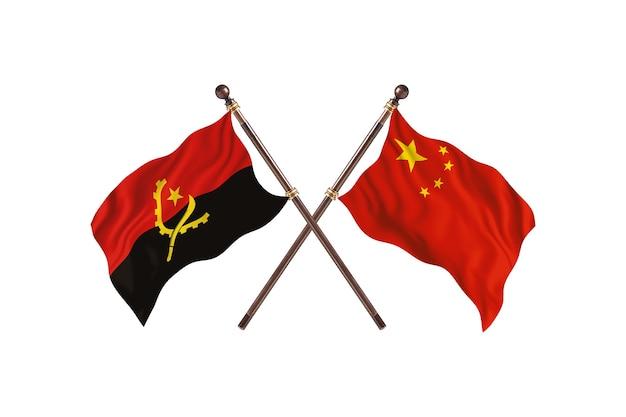 Sfondo di bandiere di due paesi dell'angola contro cina