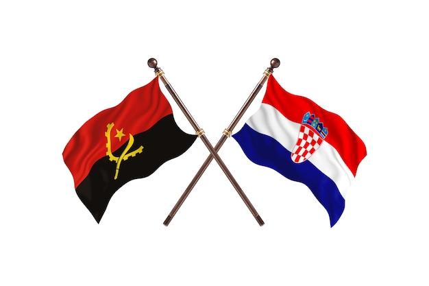Angola contro la croazia due bandiere di paesi background