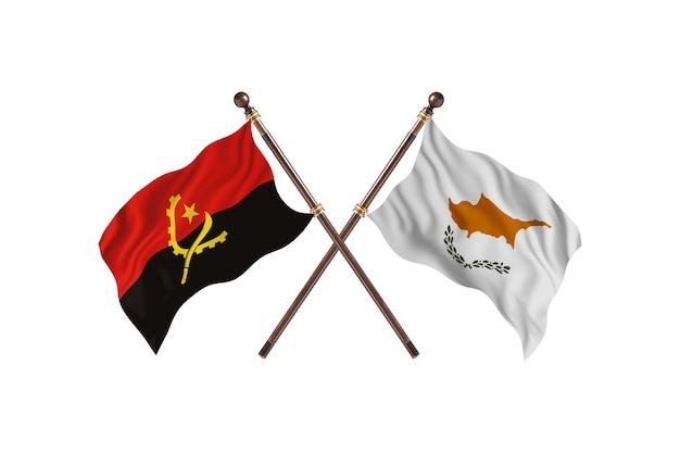 Angola contro cipro due paesi bandiere background