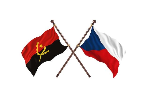 Angola contro la repubblica ceca due bandiere di paesi background