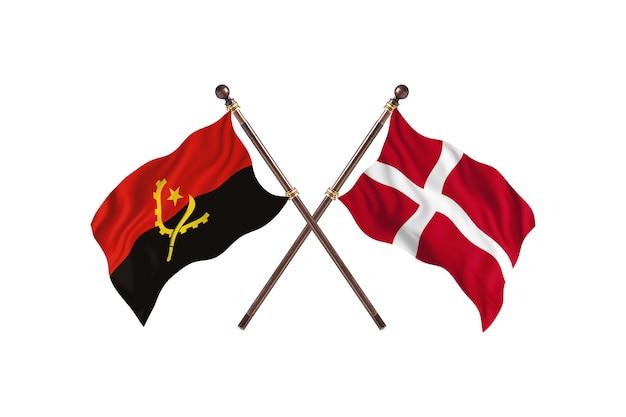 Angola contro danimarca due bandiere di paesi background