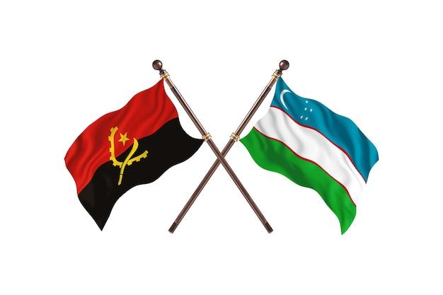 Sfondo di bandiere di due paesi dell'angola contro l'uzbekistan