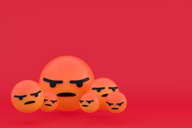 Icona arrabbiata facebook reazioni emoji rendering 3d, simbolo palloncino social media su sfondo rosso