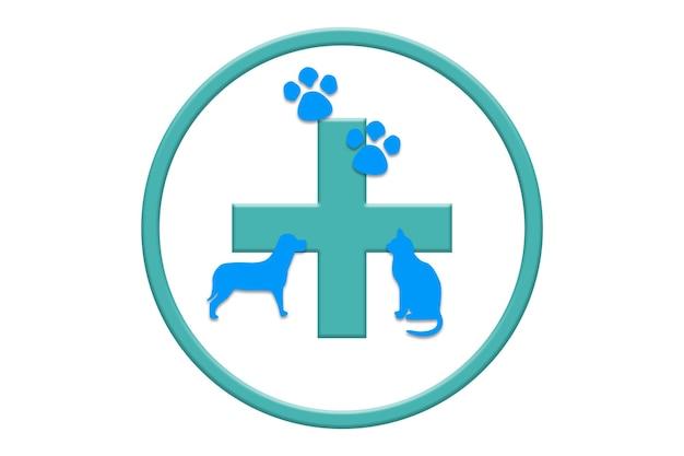 Illustrazione di concetto di ospedale per animali su sfondo bianco