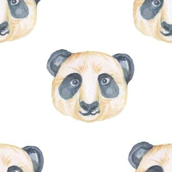 Animali cartone animato carino museruola stile scandinavo. illustrazione disegnata a mano dei bambini. insieme dell'acquerello. modello senza soluzione di continuità. stampa realismo tessile Foto Premium
