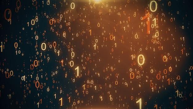 Sfondo animato con una pioggia di particelle di numeri binari che cadono simulando l'effetto matrice. illustrazione 3d