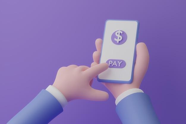 Mano di animazione che tiene lo smartphone con la paga del pulsante su sfondo viola d illustrazione