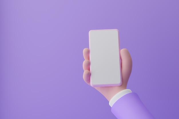 Mano di animazione che tiene smartphone con schermo bianco su sfondo viola d illustrazione