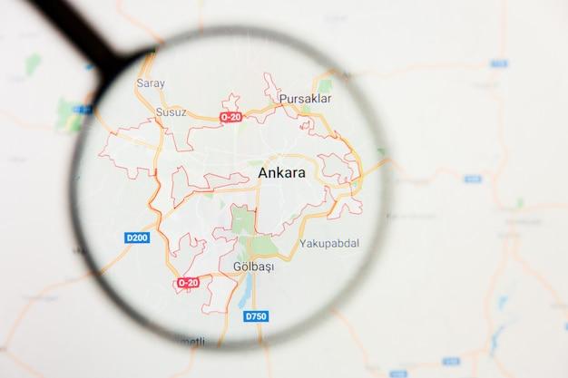 Concetto illustrativo di visualizzazione della città di ankara, turchia sullo schermo tramite la lente d'ingrandimento