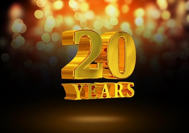 Anniversario 20 anni d'oro 3d isolato su un elegante sfondo bokeh