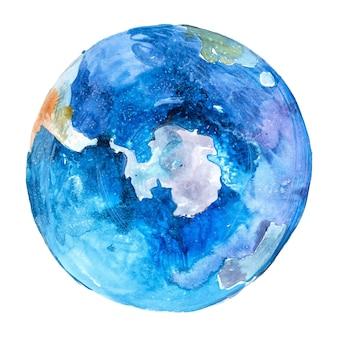 Polo sud del globo dell'antartide sul globo. pianeta terra. acquerello.