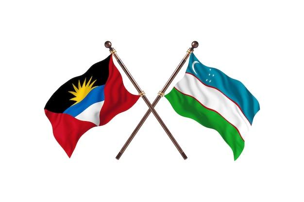 Antigua e barbuda contro l'uzbekistan due bandiere di paesi background