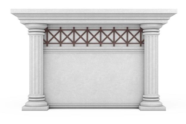 Antico edificio con colonne e spazio vuoto per il tuo design su sfondo bianco. rendering 3d