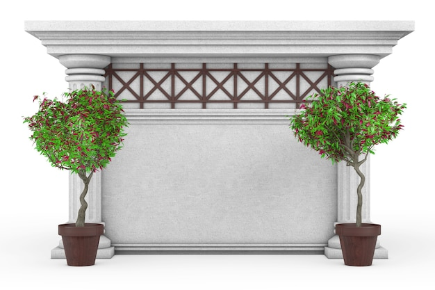 Antico edificio con colonne, alberi ornamentali verdi e spazio vuoto per il tuo design su sfondo bianco. rendering 3d