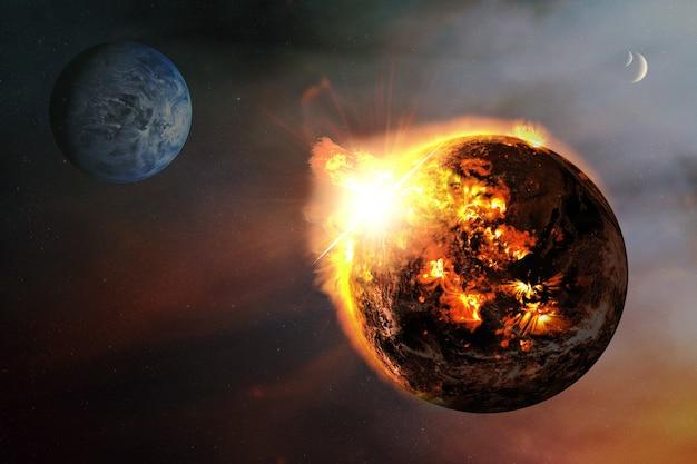 Abstract apocalittico con un pianeta in fiamme